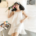 Nightdress Xiaomengmeng's appointment 160(M),165(L),170(XL) sexy camisole pajamas Middle-skirt summer Solid color youth Crew neck cotton bow More than 95% pure cotton 18-8136B 200g and below