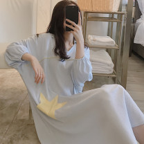 Nightdress Xiaomengmeng's appointment 160(M),165(L),170(XL) Sweet Long sleeves pajamas Middle-skirt spring other youth Small lapel cotton Embroidery More than 95% cotton 200g and below