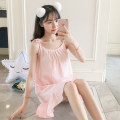 Nightdress Xiaomengmeng's appointment 160(M),165(L),170(XL) Sweet camisole pajamas Middle-skirt summer Solid color youth Crew neck cotton bow More than 95% pure cotton 200g and below