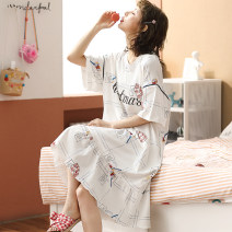 Nightdress Xiaomengmeng's appointment 160(M),165(L),170(XL),175(XXL),180(3XL) Sweet Short sleeve pajamas Middle-skirt summer Cartoon animation youth Crew neck cotton printing More than 95% cotton 200g and below