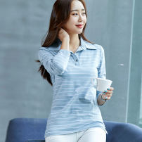 T-shirt M,L,XL,XXL,XXXL,XXXXL Autumn of 2019 Long sleeves Polo collar Self cultivation Regular routine commute cotton 96% and above 25-29 years old Korean version classic Thin horizontal stripes, stitching