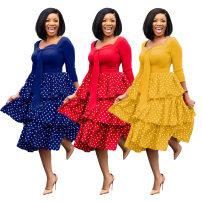 Dress Summer 2020 Yellow, red, blue S,M,L,XL,2XL,3XL Middle-skirt singleton  Long sleeves Crew neck High waist Solid color zipper Pencil skirt