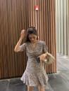 Dress Spring 2020 Floral  S, M Middle-skirt singleton  Short sleeve V-neck High waist Decor Socket Ruffle Skirt routine