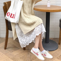 Dress Fall 2017 White, black S. M, l, XL, lace skirt only Mid length dress singleton  Sleeveless commute Crew neck Solid color straps Korean version Lace, hook, hollow, embroidery, hollow