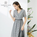 Dress Summer 2021 Black and white S M L XL Mid length dress Short sleeve V-neck other A-line skirt bishop sleeve 25-29 years old Type A Beauty garden DW129034 More than 95% polyester fiber Polyester 100%