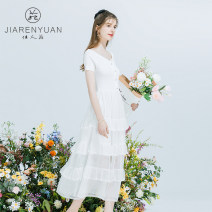 Dress Spring 2021 This is white and black S M L Middle-skirt singleton  Short sleeve commute Crew neck middle-waisted Socket A-line skirt routine 30-34 years old Type A Beauty garden Korean version More than 95% other Other 100%