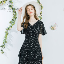 Dress Summer 2021 Black and white dots S M L XL Middle-skirt singleton  Short sleeve commute Crew neck middle-waisted Dot zipper A-line skirt routine 30-34 years old Type A Beauty garden lady J029095 More than 95% polyester fiber Polyester 100%