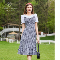 Dress Summer 2021 black and white S M L Mid length dress Short sleeve Crew neck Socket A-line skirt puff sleeve 25-29 years old Type A Beauty garden DW129045 More than 95% cotton Cotton 100%