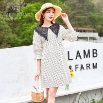 Dress Summer 2021 Dot M L Mid length dress Long sleeves Polo collar A button A-line skirt puff sleeve 25-29 years old Type A Beauty garden DW129044 More than 95% cotton Cotton 100%