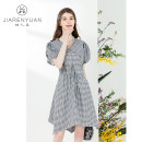 Dress Summer 2021 black and white S M L Mid length dress Short sleeve Doll Collar A-line skirt puff sleeve 25-29 years old Type A Beauty garden DW129035 More than 95% polyester fiber Polyester 100%