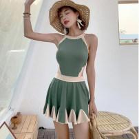 one piece  Liu Xiaoyu M,L,XL green One piece flat corner swimsuit Steel strap breast pad Nylon, others female Sleeveless