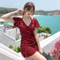 one piece  Rong Lang Si M,L,XL Skirt one piece Steel strap breast pad Nylon, others female Short sleeve Solid color