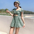 Split swimsuit Rong Lang Si green M,L,XL Skirt split swimsuit With chest pad without steel support female
