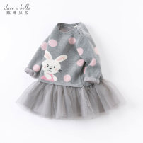 Dress Grey [spot] grey - pre sale female DAVE&BELLA Other 100% spring and autumn Europe and America Long sleeves Cartoon animation cotton A-line skirt DBZ16104 Spring 2021 12 months, 18 months, 2 years old, 3 years old, 4 years old, 5 years old, 6 years old and 7 years old