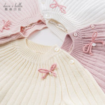 Sweater / sweater other female DAVE&BELLA Europe and America Socket routine Crew neck nothing Fine wool Solid color Cotton 90% wool 10% Class A Long sleeves Autumn of 2019 spring and autumn 12 months, 18 months, 2 years old, 3 years old, 4 years old, 5 years old, 6 years old