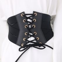 Belt / belt / chain Pu (artificial leather) black female Waistband grace Single loop bow soft surface 14cm alloy Bow, elastic Other / other Bandage waist cover 60cm,65cm,70cm,75cm