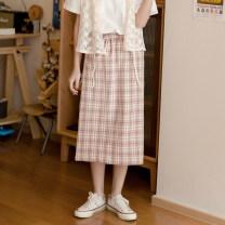 skirt Summer 2020 M, L Girl powder Mid length dress Sweet High waist A-line skirt lattice Type A 81% (inclusive) - 90% (inclusive) cotton zipper solar system