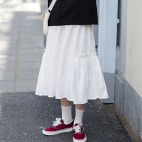 skirt Spring 2020 Average size Black, white Mid length dress Sweet High waist A-line skirt Solid color Type A cotton Pleated, agaric solar system