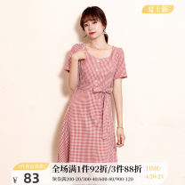 Dress Summer 2020 Red and white lattices 155/S 160/M 165/L 170/XL Mid length dress singleton  Short sleeve commute square neck High waist A-line skirt routine 25-29 years old One-t / Rabbit Retro 20L931 More than 95% polyester fiber Polyester 100% Pure e-commerce (online only)