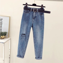 Jeans S code 80-95 jins M code 95-105 jins L code 105-115 jins XL code 115-130 jins 2XL code 130-145 jins 3XL code 145-160 jins 4XL code 160-175 jins 5XL 175-200 jins Summer of 2018 Light blue 1973 to send black belt Cropped pants High waist Straight pants conventional 18-24 years old Light color