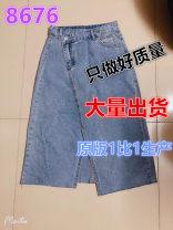 skirt Summer 2021 S,M,L Wash water blue Mid length dress Versatile High waist Denim skirt Type A Asymmetry, split