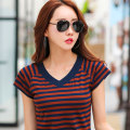 T-shirt Long sleeve 9331, long sleeve 9333, green 9833, long sleeve 9333, coffee 9833 S,M,L,XL,2XL,3XL Summer 2021 Short sleeve V-neck Self cultivation Regular routine commute cotton 96% and above Korean version classic Thin horizontal stripes, color matching, stitching Sderl / sundel Splicing