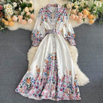 Dress Summer 2020 white Average size longuette singleton  Long sleeves commute Polo collar High waist other Socket A-line skirt puff sleeve Others 18-24 years old Type A Korean version 31% (inclusive) - 50% (inclusive) other other