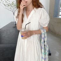 Dress Summer 2020 White, black, pink Average size longuette singleton  Short sleeve commute V-neck Loose waist Solid color Single breasted other puff sleeve Others 18-24 years old Korean version 31% (inclusive) - 50% (inclusive) other other