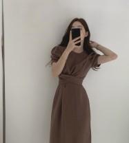 Dress Summer 2021 Apricot, dark brown S,M,L singleton  Long sleeves commute High waist puff sleeve Korean version