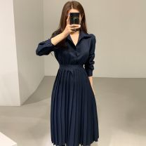Dress Autumn 2020 Khaki, dark blue, pink S,M,L Long sleeves commute Polo collar High waist Solid color Pleated skirt 18-24 years old Type A Other / other Korean version