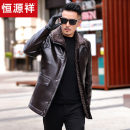 leather clothing hyz  Business gentleman Black, dark brown 170,175,180,185,190 routine Imitation leather clothes Lapel Straight cylinder zipper winter leisure time middle age Sheepskin Business Casual Straight hem Side seam pocket No iron treatment