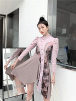 Dress Spring 2021 Picture color S,M,L longuette singleton  Long sleeves commute Polo collar High waist Solid color Socket A-line skirt routine 25-29 years old Type A Button polyester fiber