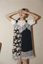 Dress Summer 2020 Navy Blue S, M longuette Fake two pieces Short sleeve commute Crew neck Loose waist Socket Big swing raglan sleeve Korean version