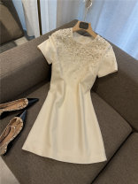 Dress Summer 2021 Black, off white, pink S,M,L,XL Middle-skirt singleton  Short sleeve commute Crew neck High waist Solid color Socket Princess Dress routine Type A literature Inlaid diamond, splicing, three-dimensional decoration, nail bead, Sequin More than 95% polyester fiber