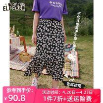 skirt Summer 2021 S,M,L Broken flower black Mid length dress street Natural waist A-line skirt Type A 18-24 years old More than 95% Elf sack / goblin's pocket other Europe and America