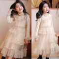 Dress Fairy apricot female Other / other 100cm,110cm,120cm,130cm,140cm,150cm Cotton 100% spring and autumn princess Long sleeves Dot cotton Lotus leaf edge Korea high order Class A