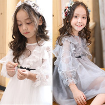 Dress female Other / other 150cm,140cm,130cm,120cm,110cm,100cm Other 100% spring and autumn Korean version Long sleeves Solid color other Lotus leaf edge Korean high end Class B 12, 11, 10, 9, 8, 7, 6, 5, 4, 3