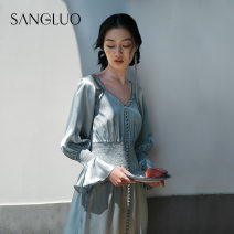 Nightgown / bathrobe samlor  female S M L Dawn blue Thin money Simplicity silk summer More than 95% Long (below Mid Calf) mulberry silk Plants and flowers youth SPOL-2052508 lace 200g and below Summer 2020 Mulberry silk 100% Same model in shopping mall (sold online and offline)