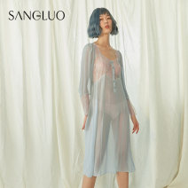 Nightdress samlor  Dawn blue S M L sexy Long sleeves pajamas Middle-skirt spring Solid color youth square neck silk Hollowing out More than 95% silk SQOL-1852001 Winter 2020 Mulberry silk 100% Same model in shopping mall (sold online and offline) Mulberry silk 100%