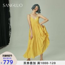 Nightdress samlor  Dark yellow S M L Sweet camisole longuette autumn Solid color youth V-neck cotton Sticking cloth SQXL-2032016.. Autumn 2020 Cotton 70% Silk 30% Same model in shopping mall (sold online and offline)