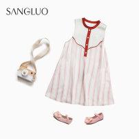 Nightdress samlor  Pink Stripe  100 110 120 Sweet Sleeveless Leisure home Middle-skirt summer stripe juvenile Crew neck silk SQXM-2132021 Spring 2021 Mulberry silk 100% Same model in shopping mall (sold online and offline)