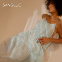 Nightdress samlor  wathet S M L Sweet camisole Leisure home longuette spring Solid color youth V-neck cotton 61% (inclusive) - 80% (inclusive) other SQXL-2152002 Spring 2021 Cotton 70% Silk 30% Same model in shopping mall (sold online and offline) Cotton 70% Silk 30%