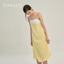 Nightdress samlor  Yellow  S M L Sweet Sleeveless Leisure home Middle-skirt spring youth silk Frill decoration silk SQXM-2132015 Spring 2021 Mulberry silk 100% Same model in shopping mall (sold online and offline)
