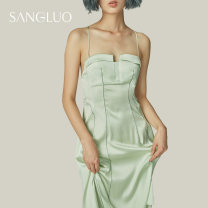 Dress Spring 2021 S M L Mid length dress singleton  Sleeveless Sweet other High waist Solid color other other other camisole 25-29 years old samlor  91% (inclusive) - 95% (inclusive) silk Mulberry silk 92% polyurethane elastic fiber (spandex) 8% princess