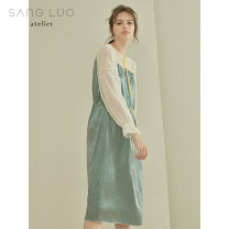 Nightdress samlor  Green stripe 155(S) 160(M) 165(L) Sweet Long sleeves pajamas longuette winter stripe youth Crew neck silk Mosaic decoration More than 95% silk 200g and below Winter of 2018 Mulberry silk 100% Same model in shopping mall (sold online and offline)