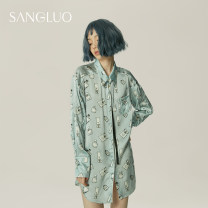 Nightdress samlor  S M L Simplicity Long sleeves pajamas Short skirt spring Solid color youth Shirt collar silk More than 95% silk 200g and below Autumn and winter 2017 Mulberry silk 100% Same model in shopping mall (sold online and offline)