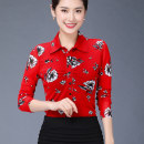 shirt gules S,M,L,XL,2XL,3XL,4XL Autumn 2020 nylon 96% and above Long sleeves commute Regular Polo collar Single row multi button routine Broken flowers Self cultivation Pinge Dixin lady Screen printing