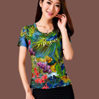 T-shirt As shown in the figure 2 / s, 3 / m, 4 / L, 5 / XL, 6 / 2XL, 7 / 3XL, 8 / 4XL Summer 2021 Short sleeve Crew neck Self cultivation Regular routine commute nylon 96% and above 40-49 years old lady originality Plant flower Pinge Dixin Screen printing
