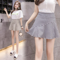 skirt Summer 2021 2 / s, 3 / m, 4 / L, 5 / XL, 6 / 2XL Black and white check, khaki check Short skirt commute High waist A-line skirt lattice Type A More than 95% Brother amashsin Stitching, printing