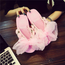 slipper One size smaller 35 36 37 38 39 40 Other / other FAIRY PINK Slope heel High heel (5-8cm) polyester fiber Summer 2017 flip flops EVA leisure time Muffin with
